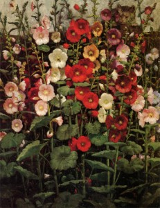 Hollyhocks, 1908, William Raphael